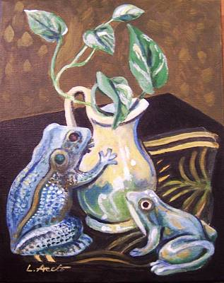 Painting - Two Frogs by Laura Aceto