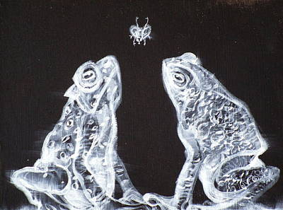 Two Frogs,one Fly Original by Fabrizio Cassetta