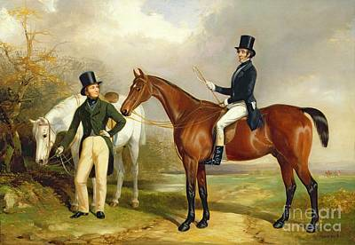 Horseback Painting - Two Gentlemen Out Hunting  by Henry Barraud