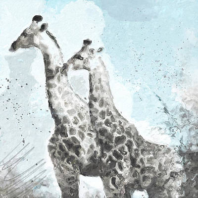 Digital Mixed Media - Two Giraffes- Art By Linda Woods by Linda Woods