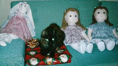 Photograph - Two Girl Dolls And Rabbit With Muffin by Denise Fulmer