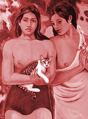 Digital Art - Two Girls And A Cat by George I Perez