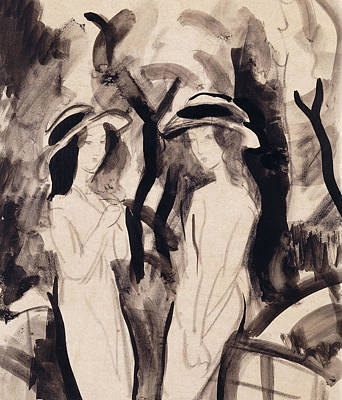 Blue Abstracts Drawing - Two Girls by August Macke