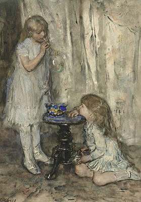 Two Girls Painting - Two Girls, Daughters Of The Artist, Blowing Bubbles by Jacob Maris