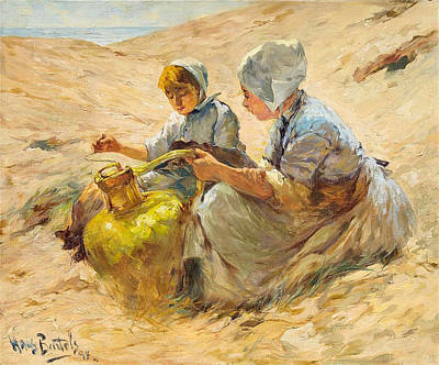 Painting - Two Girls In The Sand Dunes by Hans von Bartels