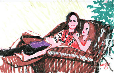 Painting - Two Girls Lounging by Candace Lovely