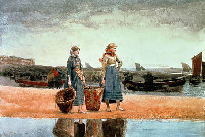 Lady On The Beach Painting - Two Girls On The Beach by Winslow Homer