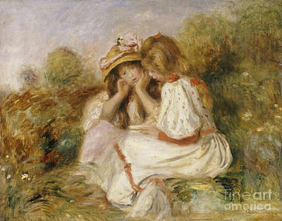 Ground Painting - Two Girls by Pierre Auguste Renoir