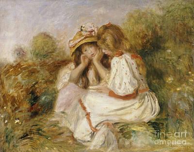Two Girls Print by Pierre Auguste Renoir