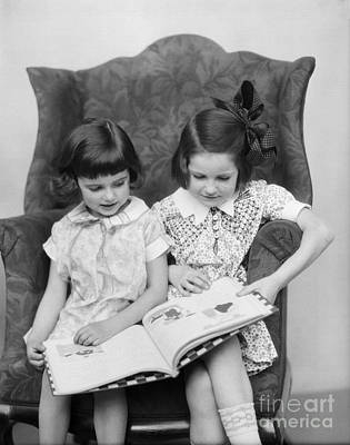 Story-1920s Photograph - Two Girls Reading A Book, C.1920-30s by H. Armstrong Roberts/ClassicStock