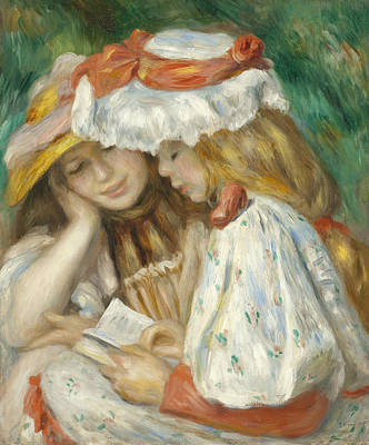Painting - Two Girls Reading  by Auguste Renoir