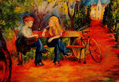 Painting - Two Girls With A Byke by Dagmar Helbig