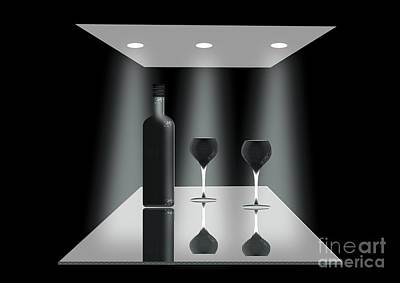 Glass Table Reflection Digital Art - Two Glasses And A Bottle by Peter McHallam