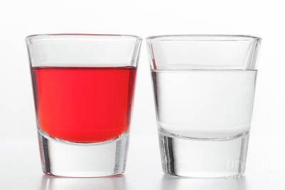 Bar Photograph - Two Glasses Of Alcohol. One Red Flavoured, The Other Clean Vodka by Michal Bednarek