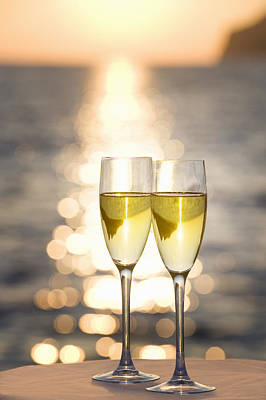 Anticipation Photograph - Two Glasses Of Champagne At Sunset by Bill Holden