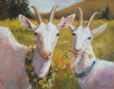Goat Wall Art - Painting - Two Goats Of Summer by Tracie Thompson