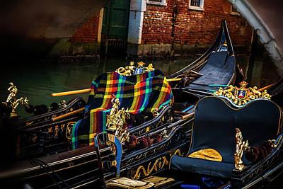 Boats Photograph - Two Gondolas by Andrew Soundarajan