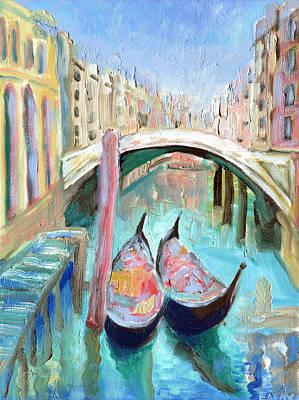 Two Gondolas Venice  Original by Elizabetha Fox