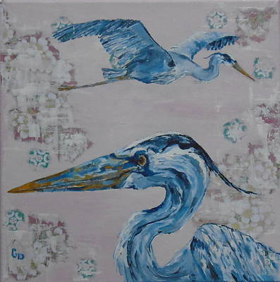 Painting - Two Great Blue Heron by Georgia Donovan