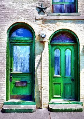 Photograph - Two Green Doors by Mel Steinhauer