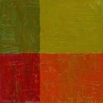 Painting - Two Greens Orange And Red by Michelle Calkins