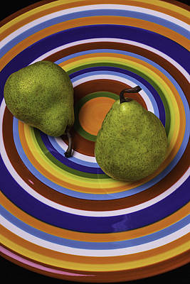 Two Green Pears On Circle Plate Art Print by Garry Gay