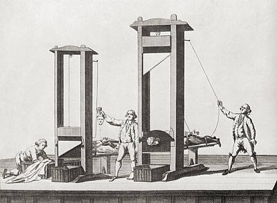 Decapitation Drawing - Two Guillotines From The Time by Vintage Design Pics