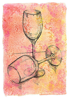 Transparent Watercolor Mixed Media - Two Hand Dot Drawn Transparent Wine  Glasses by Victoria Yurkova