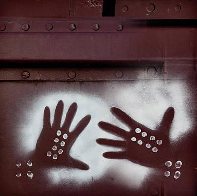 Train Car Photograph - Two Hands On A Train Graffiti by Carol Leigh