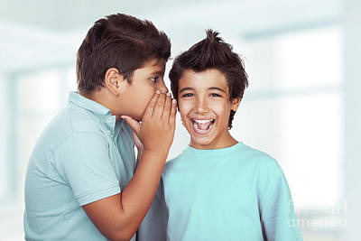 Photograph - Two Happy Boys Gossiping by Anna Om