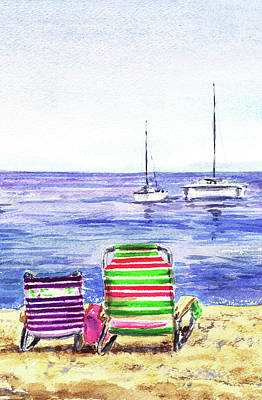 Painting - Two Happy Chairs On The Beach by Irina Sztukowski