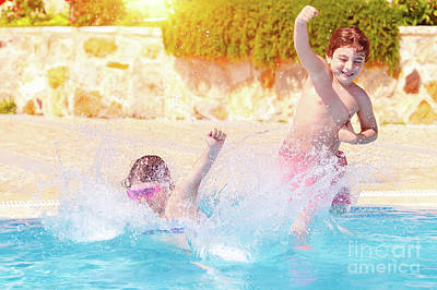 Photograph - Two Happy Children In The Pool by Anna Om