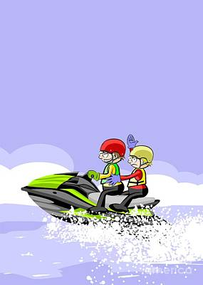 Two Happy Friends Sailing The Waves On A Green Jet Ski Art Print