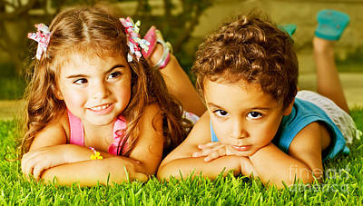 Little Sister Photograph - Two Happy Kids by Anna Om