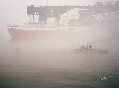 Digital Art - Two Harbors Fog Ship II by Troy Stapek