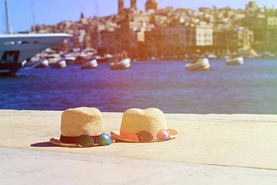 Malta Photograph - two hats and sunglasses on vacation in Malta by NadyaEugene Photography