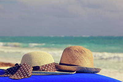 Beach Photograph - Two Hats On Sea Vacation by NadyaEugene Photography