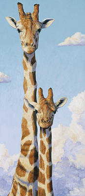Giraffe Wall Art - Painting - Two Heads In The Clouds by Lucie Bilodeau