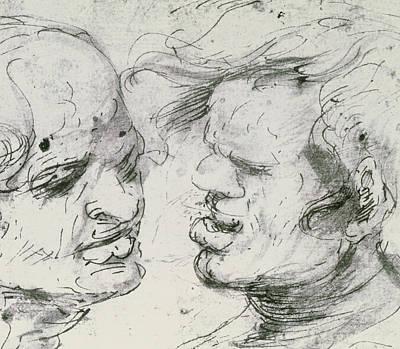 Faces Drawing - Two Heads by Leonardo Da Vinci