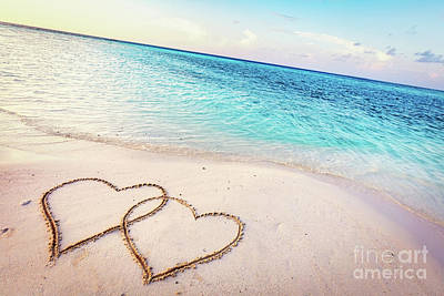 Photograph - Two Hearts Drawn On Sand Of A Tropical Beach At Sunset. by Michal Bednarek