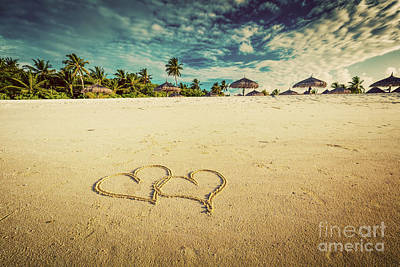 Photograph - Two Hearts Drawn On Sand Of A Tropical Beach. Vintage by Michal Bednarek