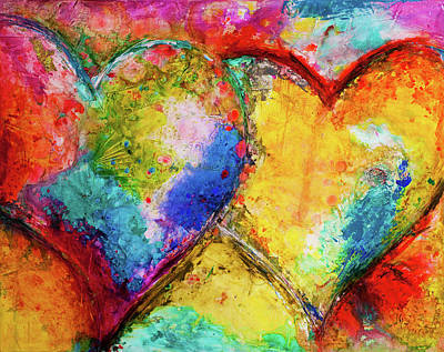 Christian Artwork Painting - Two Hearts by Ivan Guaderrama