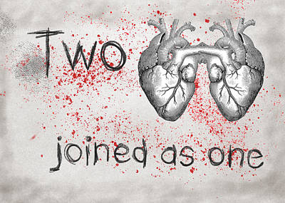 Digital Art - Two Hearts Joined As One by Mary Elizabeth Thompson