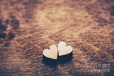 Photograph - Two Hearts On A Wooden Background by Michal Bednarek