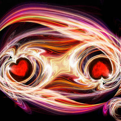 Abstract Hearts Digital Art - Two Hearts-one Soul by Michael Durst