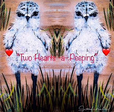 Painting - Two Hearts Peeping by Jennifer Lake