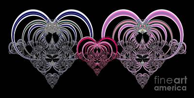 Digital Art - Two Hearts That Beat As One Fractal 80 by Rose Santuci-Sofranko