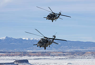 Two Hh-60g Pave Hawks Fly In Formation Art Print