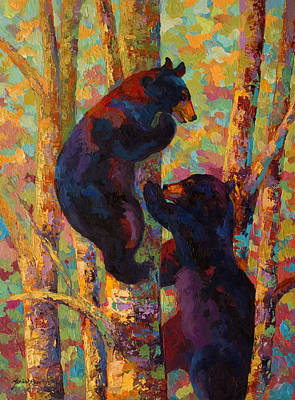 Vivid Painting - Two High - Black Bear Cubs by Marion Rose
