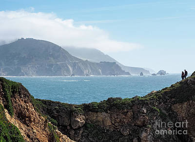 Photograph - Two Hikers On The Rocky Point Trail, Big Sur, Ca #30375 by John Bald